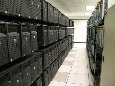 racks of servers storing digital information