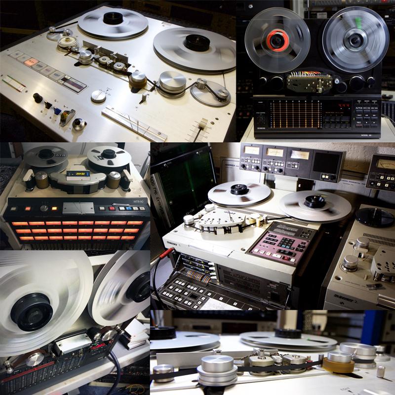 multiple reel-to-reel tape recorders in sound studio