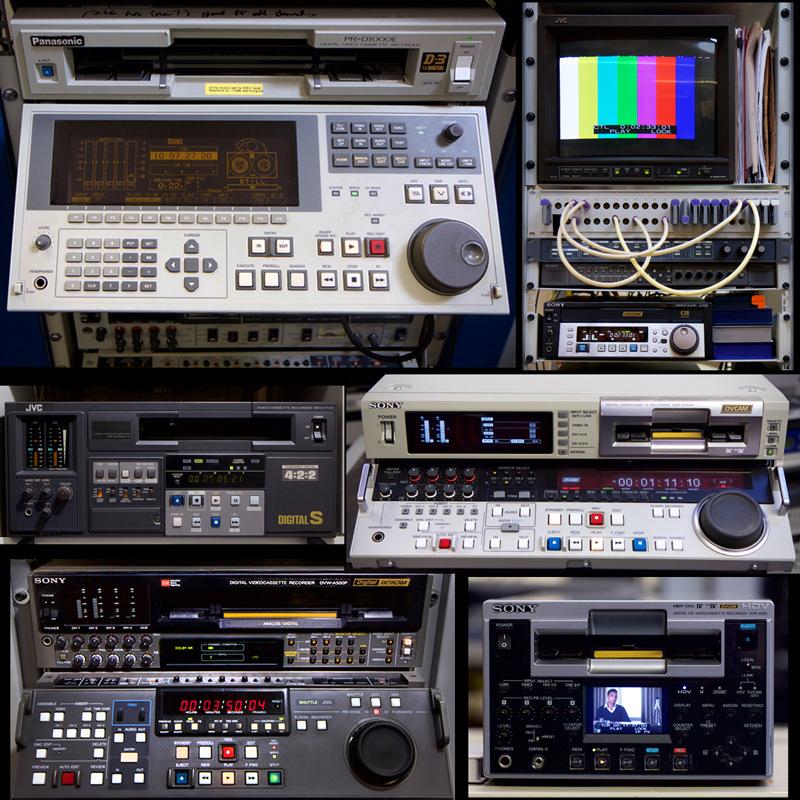 racks of large digital video cassette machines, labelled in caption.